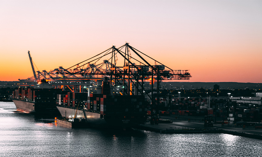 cargo port and ships