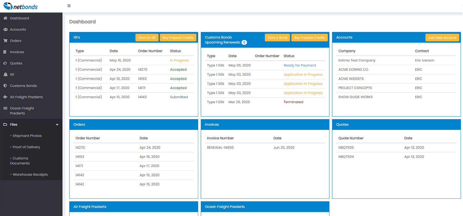 NetBonds Dashboard screenshot